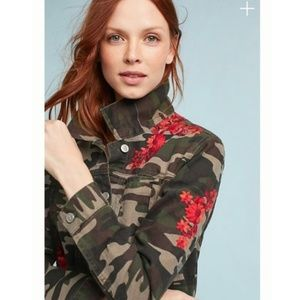 Anthropologie Pilcro Embroidered Camo Jacket